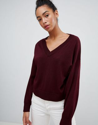 ASOS Sweater in Eco Yarn with V Neck and Batwing Sleeves