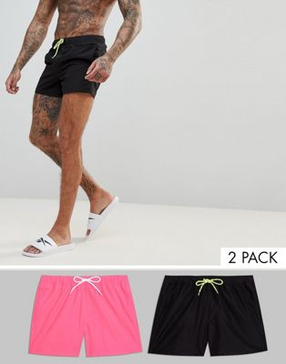 ASOS Swim Shorts In Black & Neon Pink Short Length 2 Pack SAVE