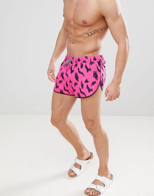 ASOS Swim Shorts With Extreme Side Split In Squiggle Print