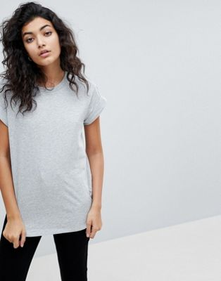 Image 1 of ASOS T-Shirt in Boyfriend Fit with Rolled Sleeve and Curved Hem