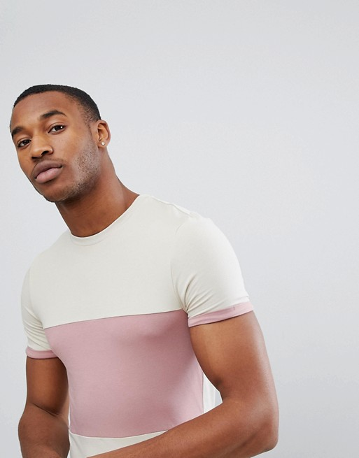 ASOS - T-shirt moulant en tissu stretch effet color block