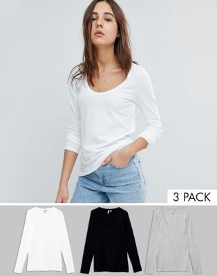 ASOS T-Shirt With Long Sleeve and Scoop Neck 3 Pack Save 20%