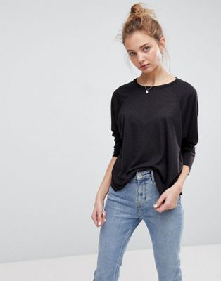 ASOS T-Shirt with Long Sleeve in Linen Mix