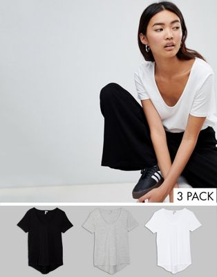 ASOS T-Shirt with Scoop Neck and Curved Hem 3 Pack Save 10%