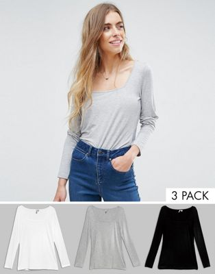 ASOS T-Shirt With Square Neck and Long Sleeve 3 Pack Save 20%