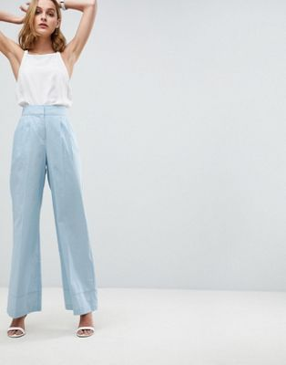 ASOS Tailored Clean Linen Wide Leg Trousers