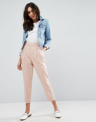 ASOS Tailored Pleat Front High Waist Tapered Trouser with Button & Tab Detail