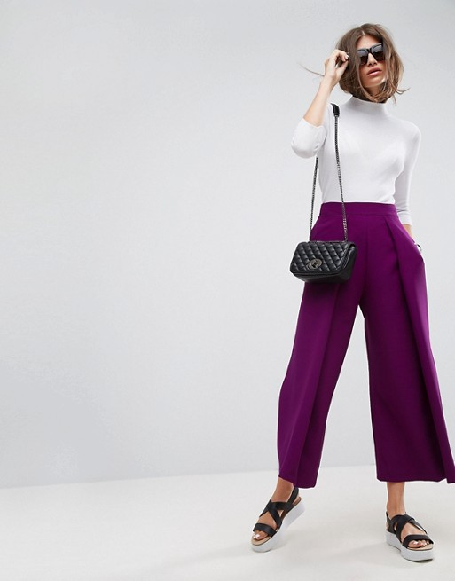 ASOS Tailored Wide Pleat Culottes In Pop Purple
