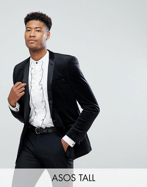 ASOS TALL - Blazer skinny in velluto nero