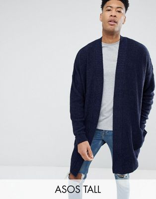 ASOS TALL Boucle Longline Cardigan In Navy