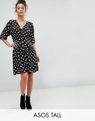 ASOS TALL Casual Mini Tea Dress in Washed Spot