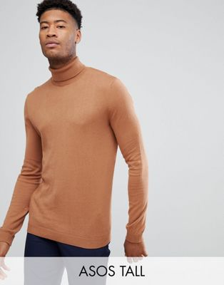 Image 1 of ASOS TALL Cotton Roll Neck Jumper In Rust