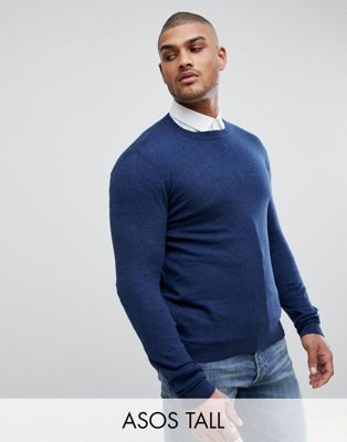 ASOS TALL Crew Neck Cotton Sweater In Navy