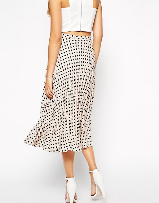 cost charm performance sportswear special sales ASOS TALL Exclusive Spot Print Pleated Midi Skirt