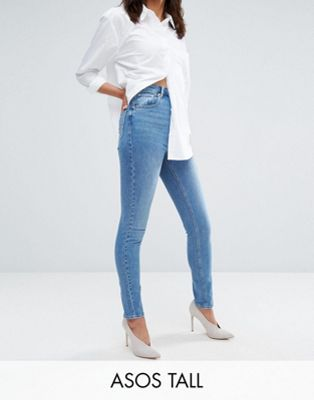 ASOS TALL FARLEIGH High Waist Slim Mom Jeans in Prince Wash