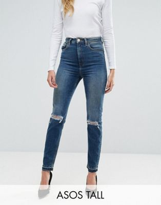 ASOS TALL FARLEIGH High Waist Slim Mom Jeans in Sonnet Aged Vintage Darkwash with Busts and Cinch Back