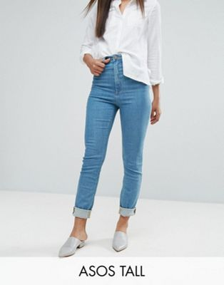 ASOS TALL FARLEIGH High Waist Slim Mom Jeans in Xanadu Bright Blue