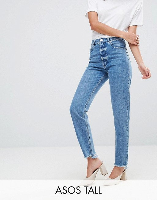 Image 1 of ASOS TALL FLORENCE Authentic Straight Leg Jeans in Mid Wash Blue with Stepped Waistband and Raw Hem