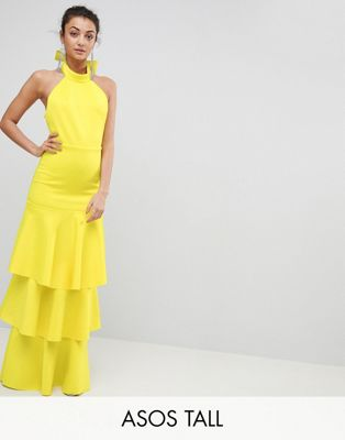 ASOS TALL Halter Neck Tiered Bow Back Maxi Dress