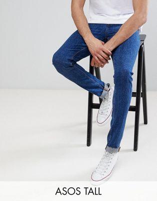 ASOS TALL - Jean skinny à délavage foncé style rétro et ourlet brut
