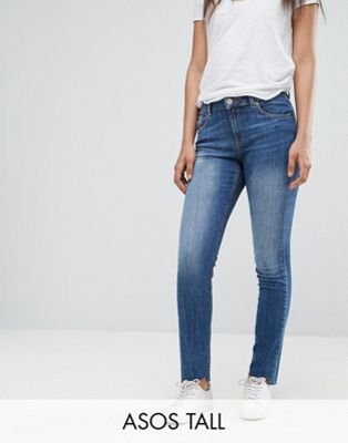 ASOS TALL KIMMI Shrunken Boyfriend Jeans in Blake Vintage Darkwash with Stepped Hem