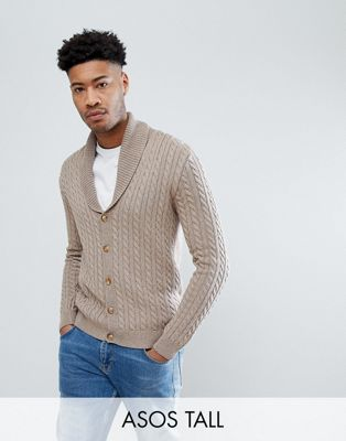 ASOS TALL Knitted Cable Knit Cardigan In Tan