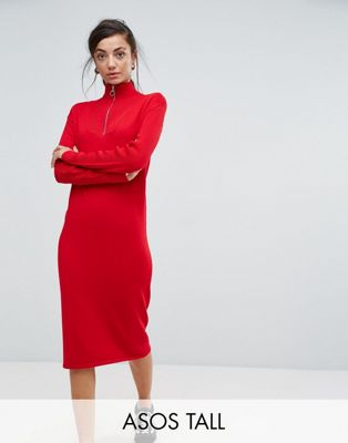 Image 1 of ASOS TALL Knitted Dress with Zip Up Neck