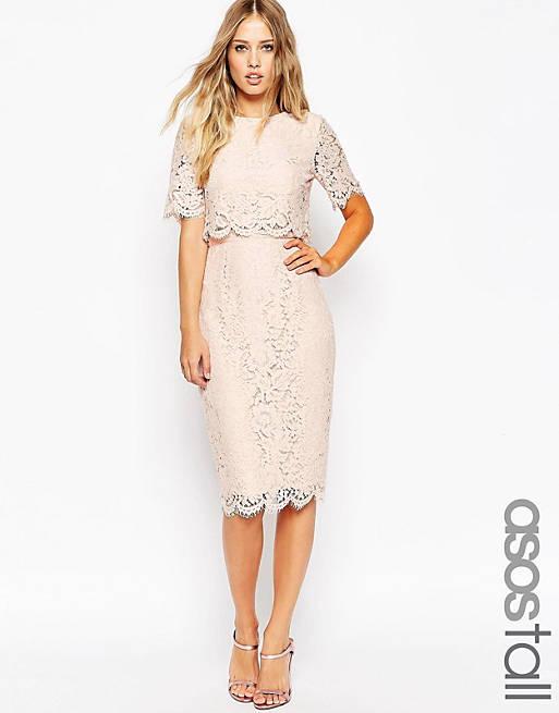ASOS TALL Lace Crop Top Midi Pencil Dress