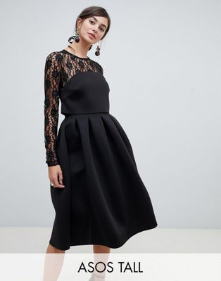Image 1 of ASOS TALL Lace Long Sleeve Crop Top Prom Dress