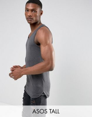 ASOS TALL Longline Muscle Vest With Bound Hem In Grey