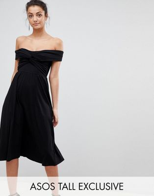 Image 1 of ASOS TALL Midi Skater Dress with Bardot Neckline and Knot Front Detail