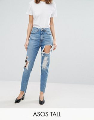 ASOS TALL ORIGINAL MOM Jean In Phoebe Wash With Rips & Stepped Hem