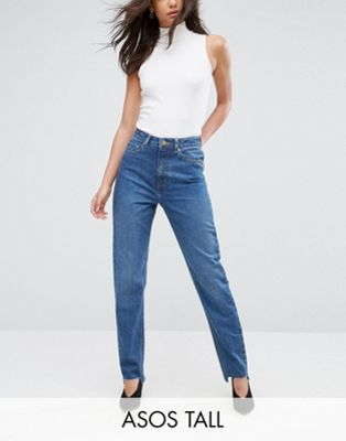 ASOS TALL ORIGINAL MOM Jeans In Haillie Wash With Stepped Hem
