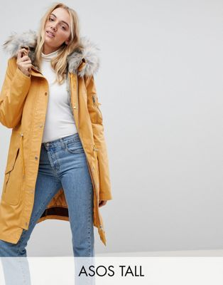 ASOS TALL Parka with Detachable Faux Fur Liner