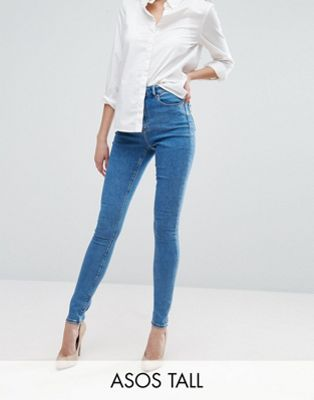 ASOS TALL RIDLEY High Waist Skinny Jeans in Lily Wash