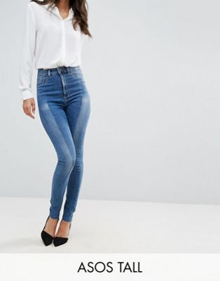 ASOS TALL RIDLEY High Waist Skinny Jeans With Seamed Split Front in Noelle Light Wash