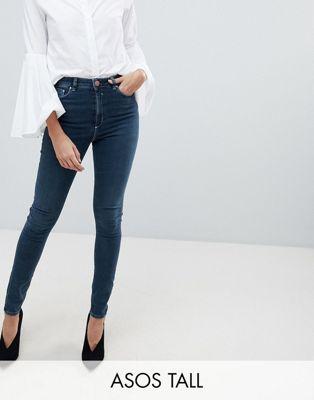 ASOS TALL - RIDLEY - Jean skinny taille haute - Bleu vieilli délavé Turya