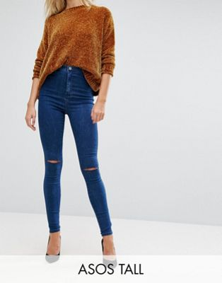 ASOS TALL RIVINGTON High Waist Denim Jeggings in Hazel Soft Acid Wash with Two Ripped Knees
