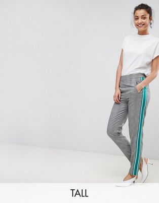 DESIGN - Elegante, schmal geschnittene, überfärbte Hose mit Karomuster - Mehrfarbig Asos