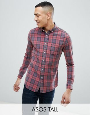 ASOS TALL Skinny Check Shirt With Acid Wash