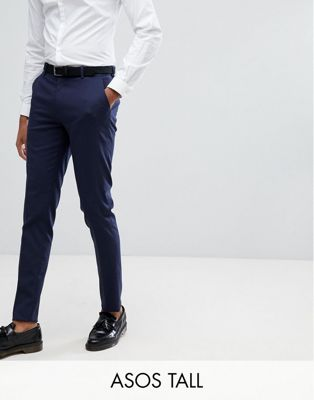 ASOS TALL Skinny Smart Trousers In Navy
