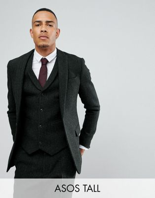 ASOS TALL Slim Blazer Harris Tweed 100% Wool Herringbone
