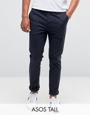 ASOS TALL Slim Chinos in Navy
