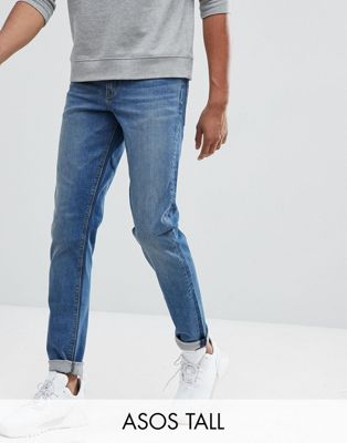 ASOS TALL Slim Jeans In Mid Wash