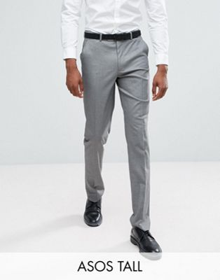 ASOS TALL Slim Smart Trousers In Grey