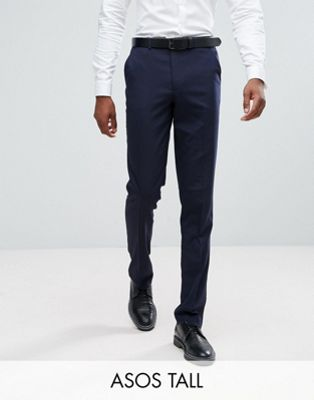 ASOS TALL Slim Smart Trousers In Navy