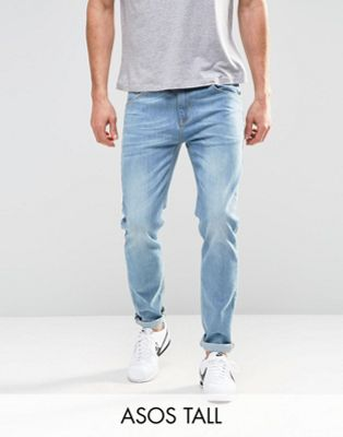 ASOS TALL Stretch Slim Jeans In Light Blue Wash