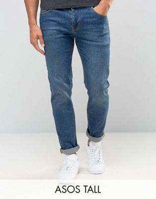 ASOS TALL Stretch Slim Jeans In Mid Wash
