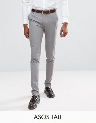 ASOS TALL Super Skinny Smart Trousers in Grey