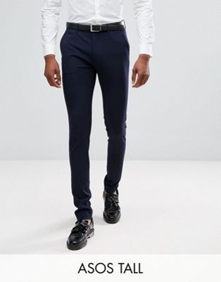 ASOS TALL Super Skinny Smart Trousers in Navy